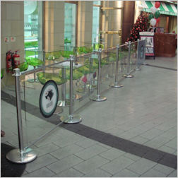 A branded acrylic cafe barrier