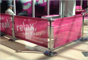 Mesh Cafe Barriers. Single sided. Pink
