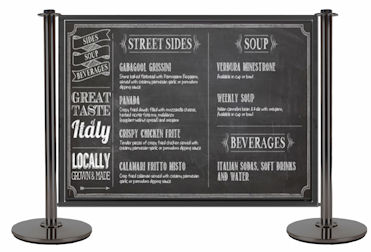 The Chalk Board panels simply hook on to the Brandline Cafe Barriers